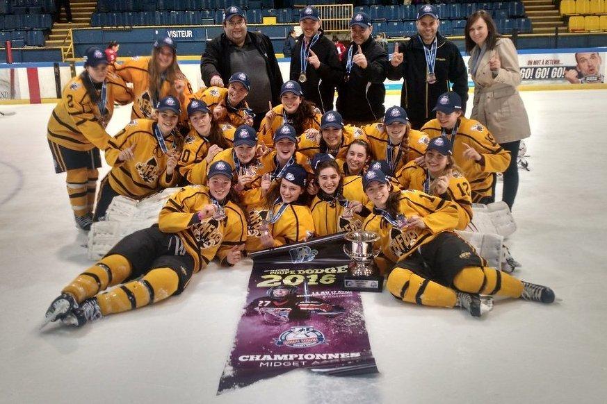 Les Honey Bees du Sud ont vaincu les Warriors de l'Ouest 2-1 en prolongation pour remporter la Coupe Dodge 2016 dans la catégorie Midget AAA