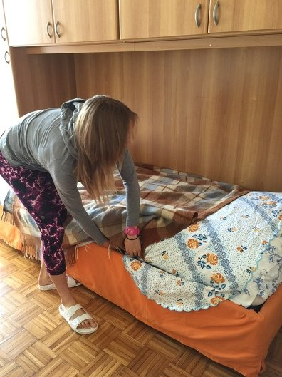Lex Albrecht making the bed.  Professional cycling life