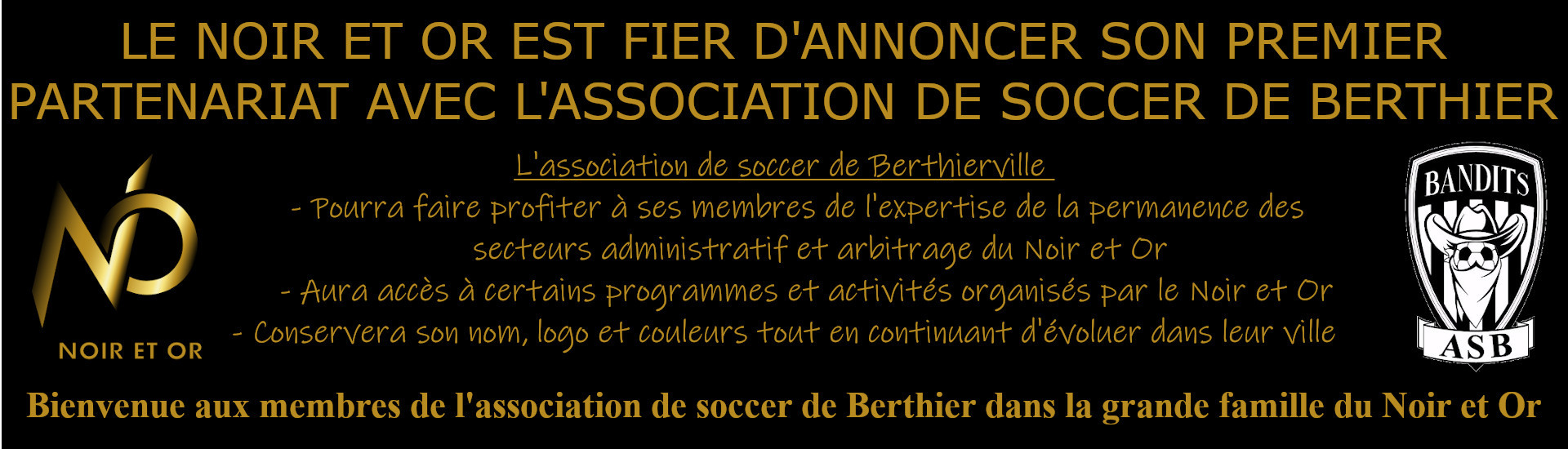 Partenariat avec l'Association de soccer de Berthier