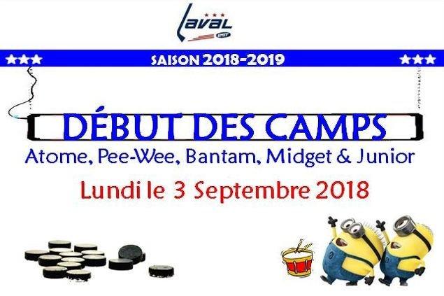 Début des Camps :  Mardi le 4 Septembre 2018