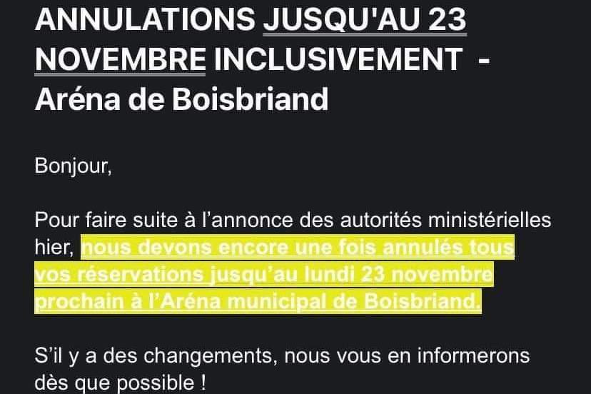 IMPORTANT - Zone ROUGE - ANNULATIONS DE TOUT LES ACTIVITÉS JUSQU'AU 23 NOVEMBRE INCLUSIVEMENT