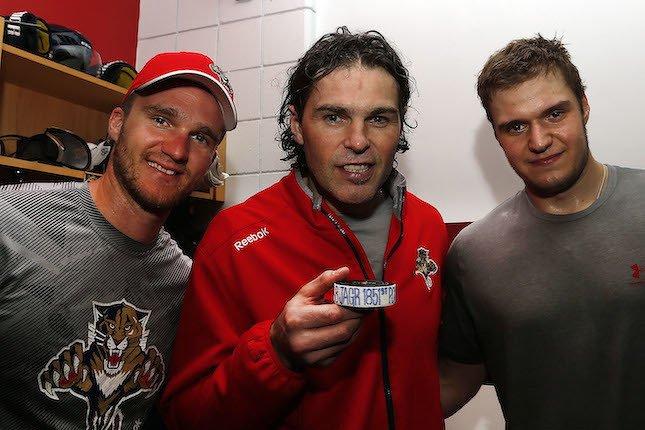 Jonathan Huberdeau, Jaromir Jagr et Aleksander Barkov sont au coeur des succès des Panthers cette saison. (Getty)