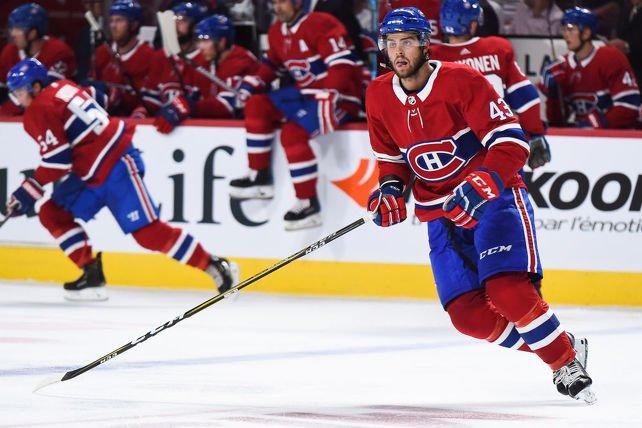 Le Québécois Michael Chaput n'a pas manqué sa rentrée avec le Canadien, lundi soir. (Getty)