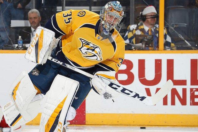 Pekka Rinne a connu deux matchs difficiles à Pittsburgh. (photo Getty)