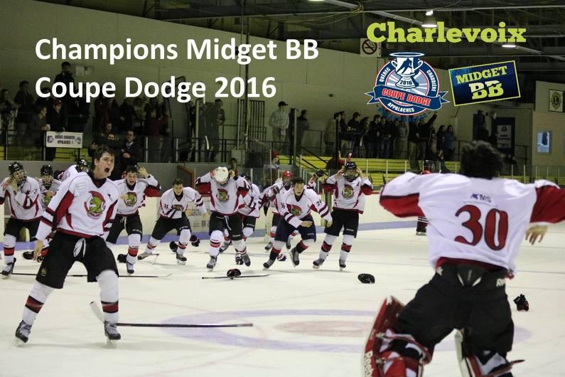 Les Sénateurs de Bellechasse, représentants de la région Québec Chaudière-Appalaches, champions Midget BB de la 39e édition de la Coupe Dodge
