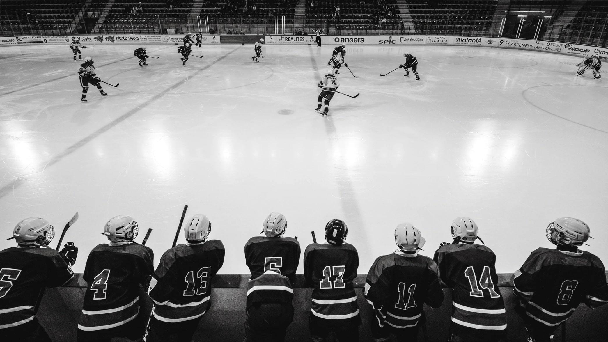 Joueurs de Hockey qui regardent d'autres joueurs sur la glace