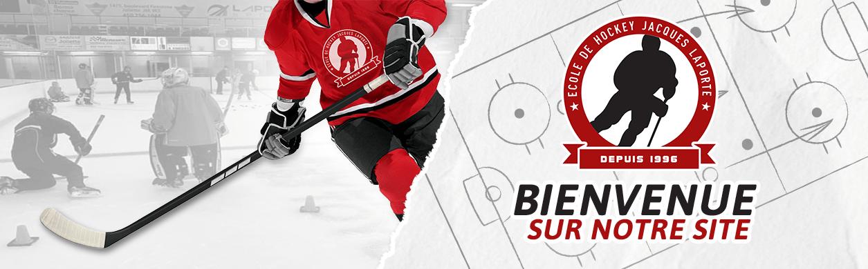 Joueur de hockey avec mot de bienvenue sur le site