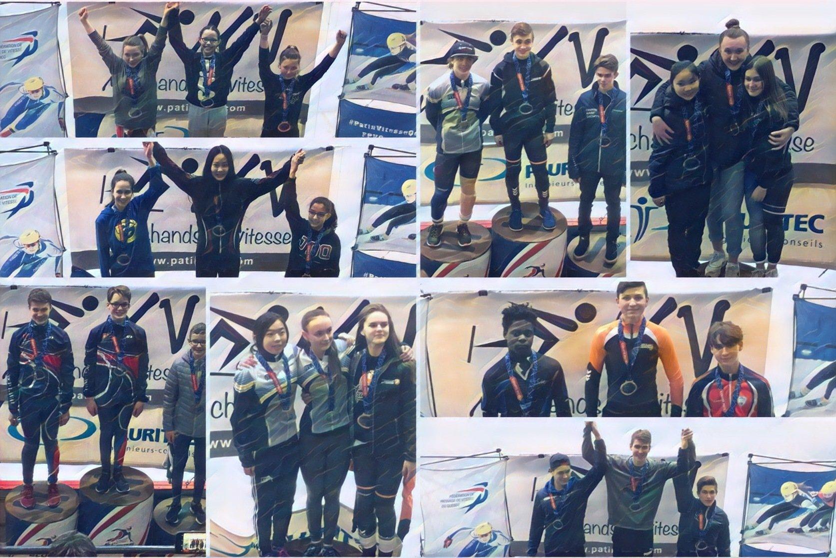 Les trois premiers au classement général pour chaque catégorie d'âge sont montés sur le podium des Championnats québécois par catégorie d'âge, à Trois-Rivières, les 16 et 17 mars 2019.