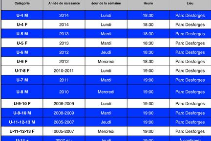 Voici l'horaire pour chaque catégorie !