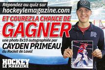 Gagnez une photo 8 X 10 autographiée par le gardien de but Cayden Primeau !