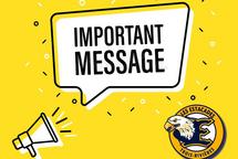 MESSAGE IMPORTANT - ANNULATION DES TESTS DU 27 JUIN
