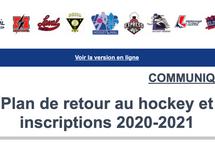 Plan de retour au hockey et inscriptions 2020-2021
