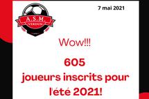 Wow! 605 joueurs inscrits pour l'été 2021