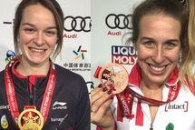 Kim Boutin a remporté l'or au 500m, alors que sa coéquipière Marianne St-Gelais est monté sur la troisième marche du podium. — Photos Patinage de vitesse Canada