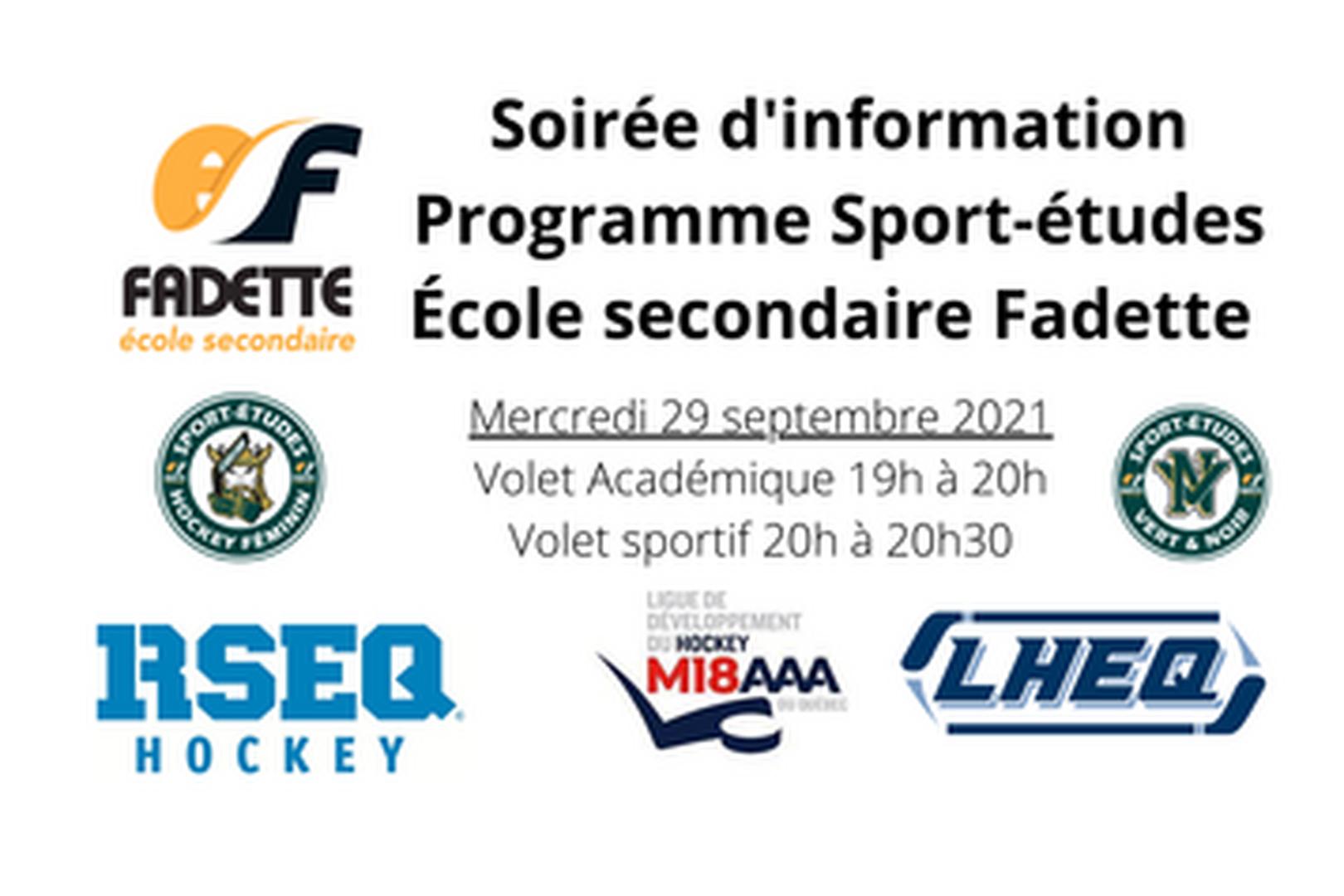 Soirée d'information - Sport-études de l'école secondaire Fadette