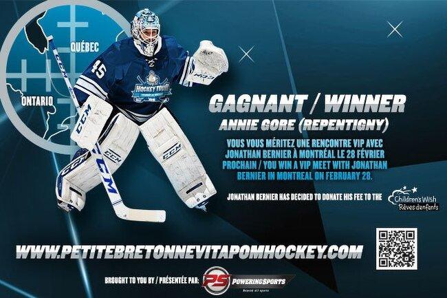 """Êtes-vous le gagnant du concours """"Jonathan Bernier #45"""" du Québec / Are you the Quebec winner of the """"Jonathan Bernier # 45"""" contest?"""