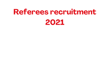 Referees recruitment 2021