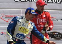 Second place podium finish for Alex Tagliani, pictured on the left, next to NASCAR Pinty's race winner Kevin Lacroix.
