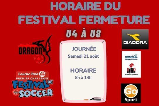 Horaire du festival de fermeture U4 à U8