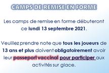 Camps de remise en forme: passeport vaccinal pour les 13 ans et +