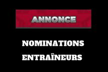 Nominations d'entraîneurs