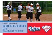 Équipe du Québec U23 en balle rapide féminine - camps d'identification