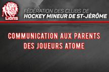 Communication aux parents des joueurs Atome