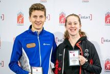 Alexa Scott (right) of Clandeboye, MAN. Crowned Canadian Junior National Champion