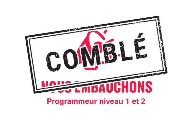 Spordle embauche - Programmeur(euse) niveau 1 et 2