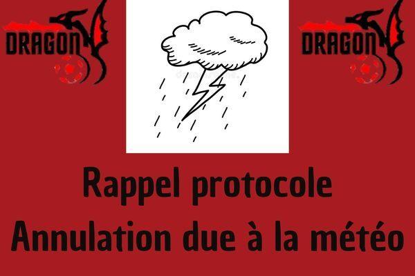 Rappel protocole pour annulation due à la météo