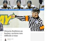 Pénurie d'arbitres au hockey: un hiver très difficile à venir