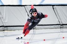 Laurent Dubreuil a enregistré les records de piste du 500m et du 1000m au Centre de glaces Intact Assurance. — Photo Geneviève Sirois
