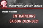 Avis de recherche - Entraîneurs -Saison 2020-2021