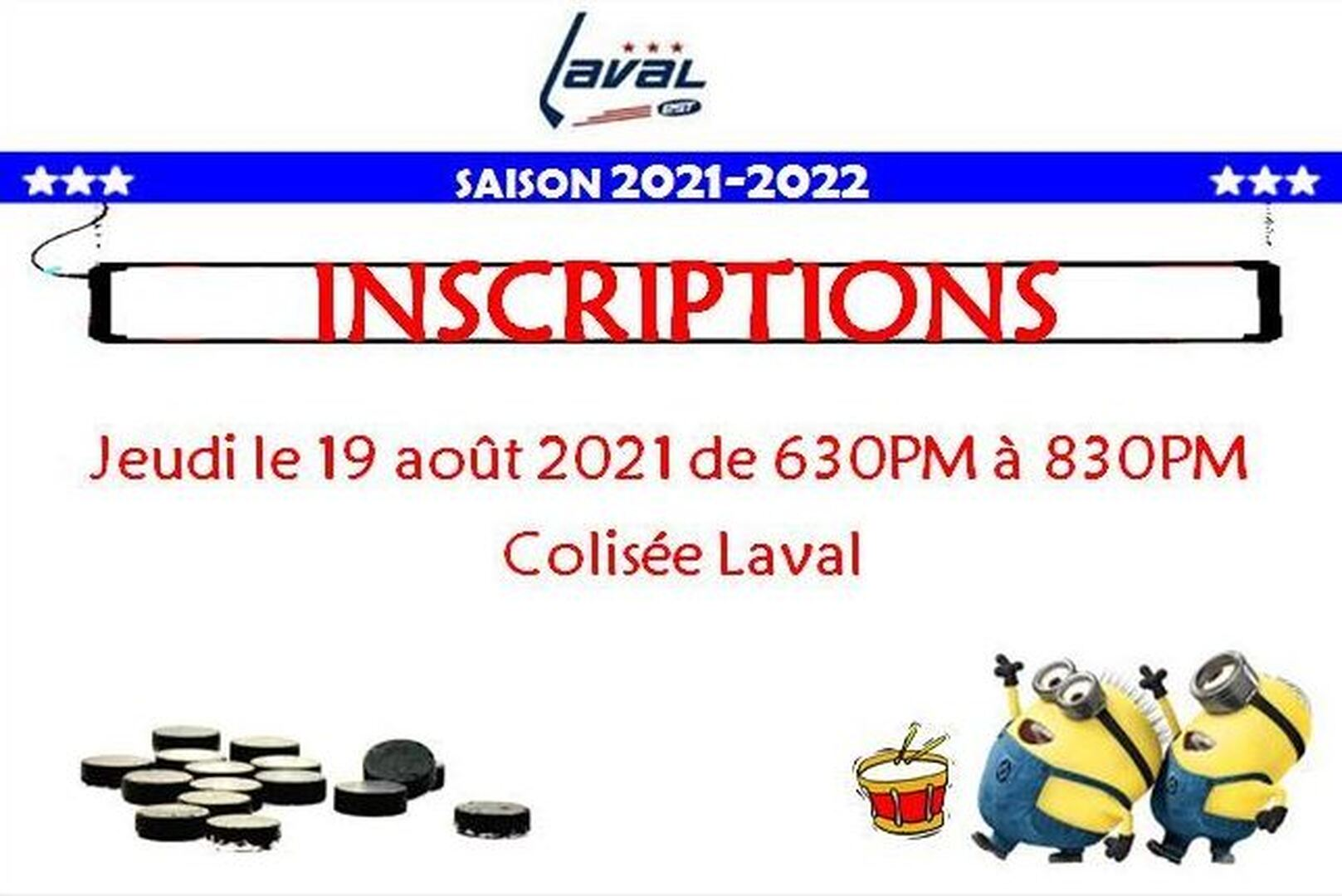 2021-2022 Inscription :  Jeudi le 19 ao?t 2021, Colisée Laval