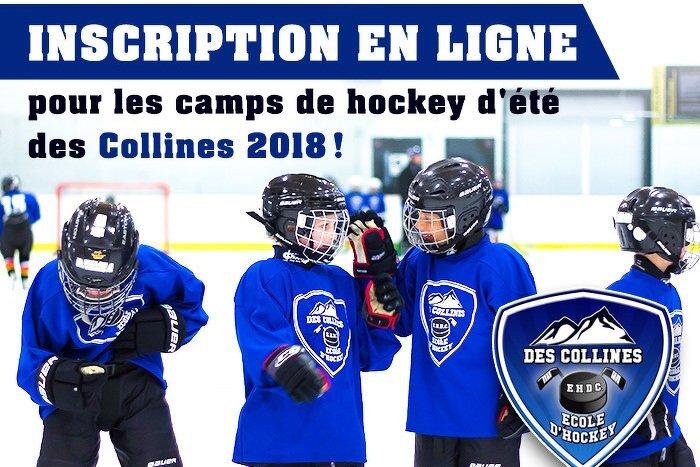 Inscription en ligne pour les Camps de Hockey d'été des Collines 2018!
