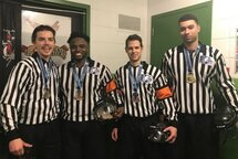 Région de Montréal: Médaillés des champions de la finale de la Coupe Dodge Midget AA 2019 - Samuel Bélanger, Christopher Camilien, Étienne Mallet-Demers, et Francis Massé