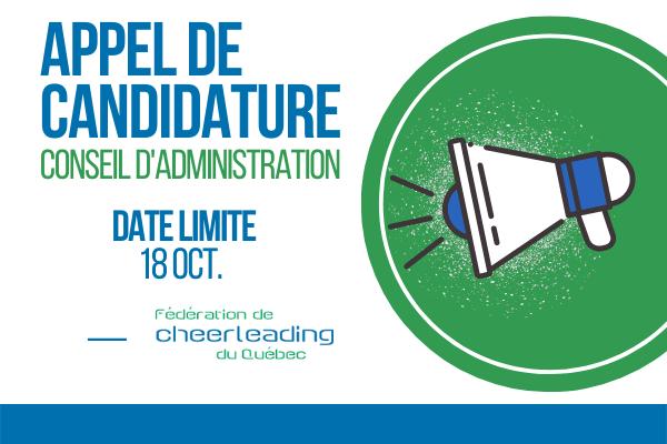 APPEL DE CANDIDATURE   Conseil d'administration FCQ et ASSEMBLÉE GÉNÉRALE ANNUELLE   2021