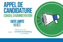 APPEL DE CANDIDATURE | Conseil d'administration FCQ et ASSEMBLÉE GÉNÉRALE ANNUELLE | 2021