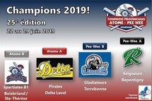 Tournois Atome - Pee-Wee :2019 : quatre équipes championnes!
