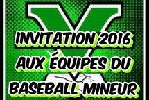 Invitation 2016 aux équipes du baseball mineur