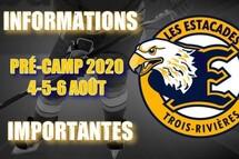 INFORMATIONS IMPORTANTES - Début du pré-camp.