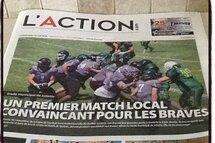 Une première page dans le journal l'Action de Joliette !