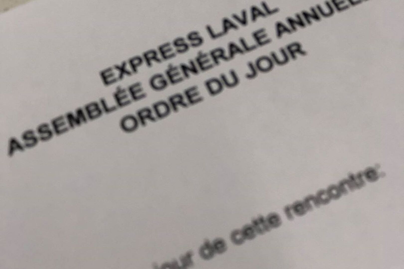 ASSEMBLEE GENERALE ANNULLE EXPRESS LAVAL 2020