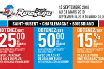Les cartes rabais Sports Rousseau sont disponibles au magasin de CHARLEMAGNE !!!