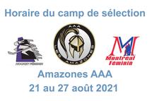Horaire du camp de sélection AAA