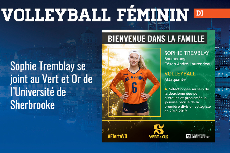 Sophie Tremblay se joint au Vert et Or de l'Université de Sherbrooke