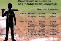 Charte des grandeurs des chandails des Pionniers de Longueuil