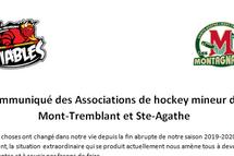 Communiqué des Associations de hockey mineur de Mont-Tremblant et Ste-Agathe