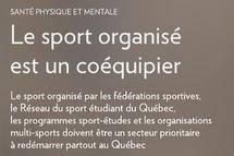 Lettre ouverte | Santé physique en mentale : Le sport organisé est un coéquipier