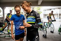 Team Tibco-SVB profession cyclists Lex Albrecht and Lindsay Meyers use the SWAY Smartphone application to establish their baseline values at the beginning of the cycling season.